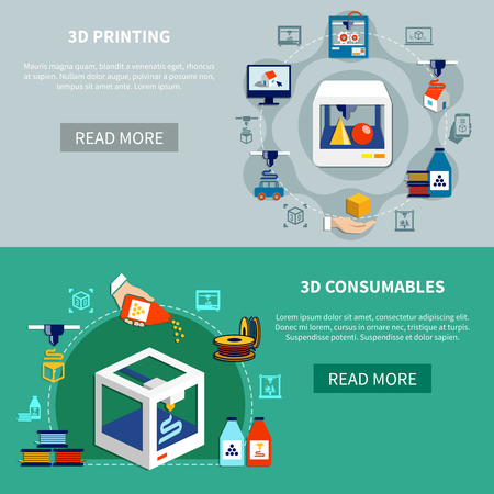 Prototyping horizontal banners set with decorative icons showing 3d printing process printer details and consumables flat vector illustration