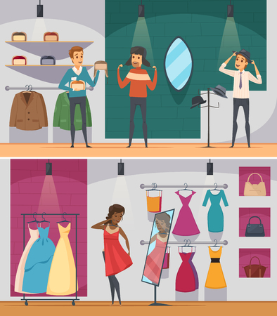 trying: Two horizontal trying shop flat people composition set with man trying hat and woman trying on a dress vector illustration