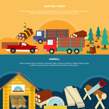 logging: Two different flat and colored lumberjack banner set with shipping timber and sawmill headlines vector illustration