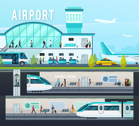 railway: Transport terminal compositions with airport interior elements and planes and railway station with trains isolated vector illustration