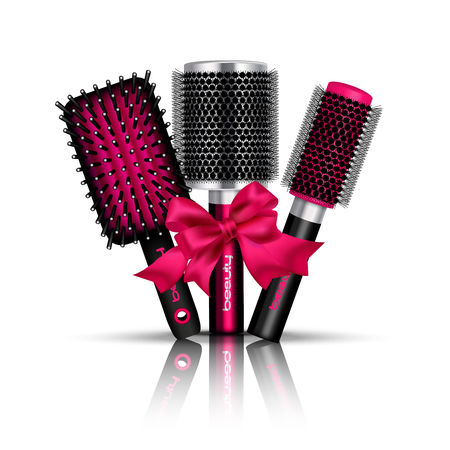 hairstyling: Realistic hair brush composition with three hairbrushes for styling tied a red ribbon vector illustration