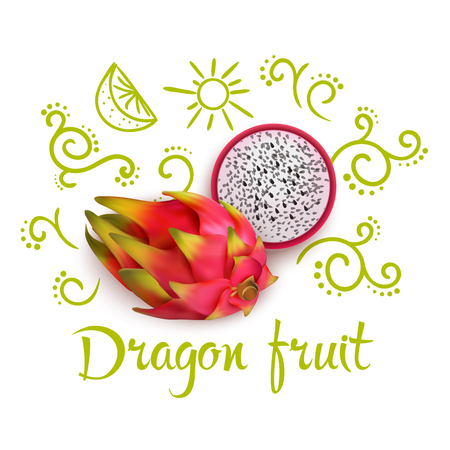 Doodles with flourishes citrus slices and typographic lettering around 3d dragon fruit on white background vector illustration