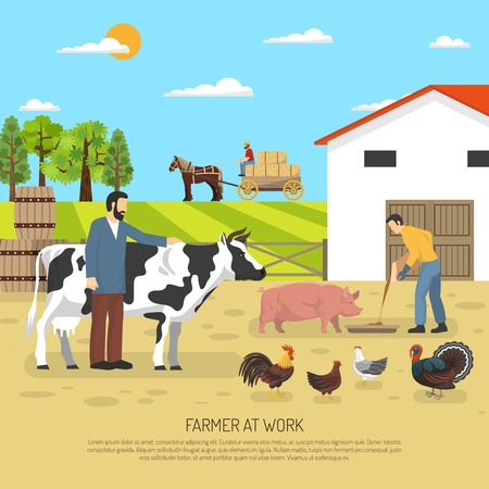 fattening: Farm animals composition with ward scenery poultry animals in farming and fattening with stock farmer characters vector illustration
