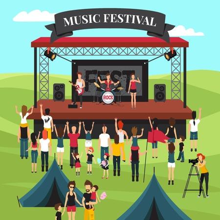 Open-Air-Festival Hintergrund mit Sommer Vorstadtlandschaft Rockband auf der Bühne Menschenmenge und Camping Park Vektor-Illustration