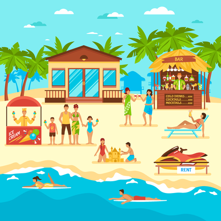 Beach with people bar and stall with icecream rent of water motorbike flat style vector illustration Ilustrace