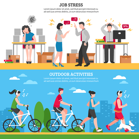 relaxion: Job stress and ourdoor ways of relaxion horizontal banners set flat isolated vector illustration