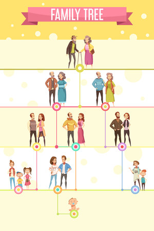 Family tree poster with five genealogical level  of generation from grandparents to newborns  flat cartoon vector illustration Illustration