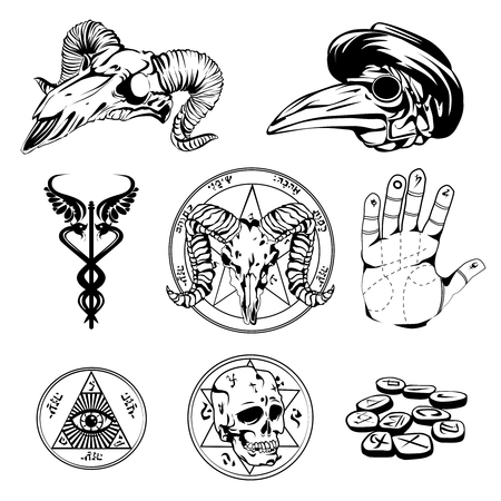 palmistry: Set of esoteric symbols and occult attributes in sketch design with human goat and crow skulls all seeing eye and palm flat vector illustration Illustration