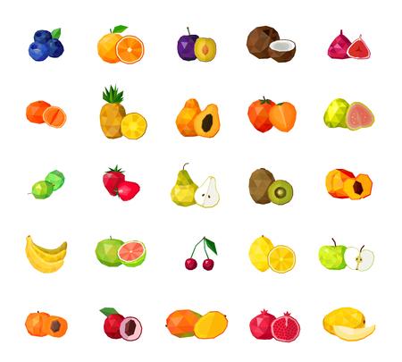 Verse tropische vruchten bessen en kokosnoot veelhoekige iconen collectie met bosbessen vijgen kiwi mango geïsoleerde illustratie