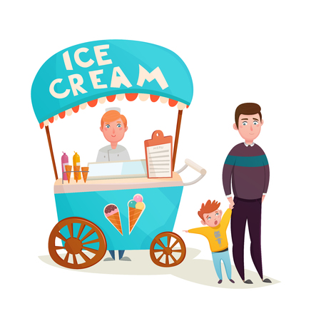 Little boy asking father to buy icecream near ice cream street seller wagon cartoon characters vector illustration