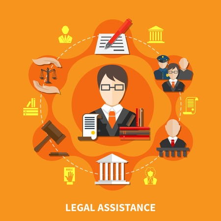 Law orange composition with advocate in court of law and legal justice headline