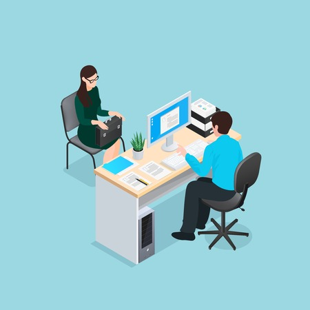 Job interview scene with personnel manager at workplace and woman candidate on blue background isometric vector illustration