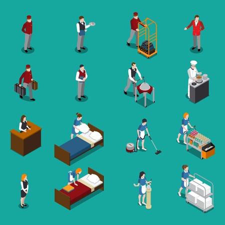Hotel staff isometric set including administrator maid waiter porter chef bellboy on green background isolated vector illustration Illustration