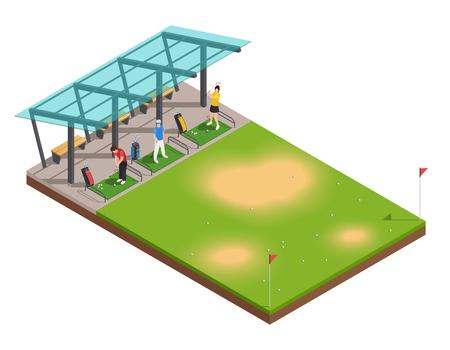 Golf, der isometrische Zusammensetzung mit schwingendem Putter des Lehrers und der Spieler unten ausbildet
