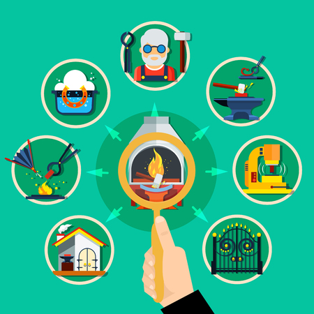 Blacksmith forging concept with human hand lens magnifier pointing to hammer work images with circle frame vector illustration