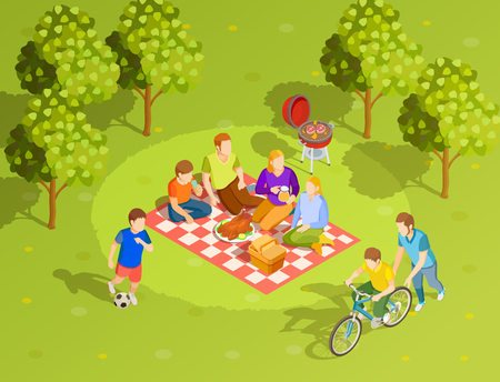 Family summer holiday countryside style brunch picnic with bbq and riding bike Stock Illustratie