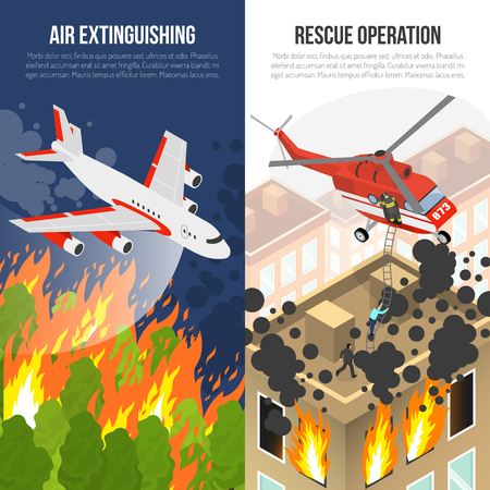 fire fighting equipment: Fire department vertical banners with air extinguishing and rescue operation from burning building isolated vector illustration Illustration