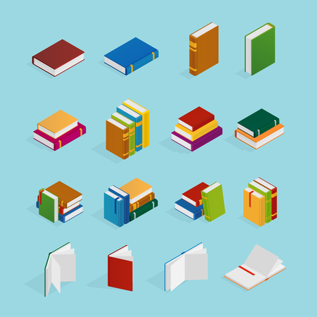 Set of isometric icons with books in colorful covers with bookmarks Illustration