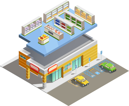 adjacent: Supermarket store building exterior and interior ground floor composition isometric view with adjacent parking lot vector illustration Illustration