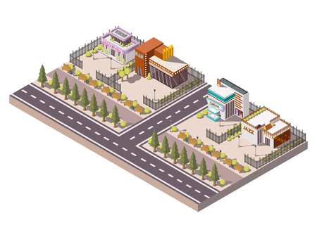 stage props: Entertainment places isometric composition with night club and cinema  vector illustration