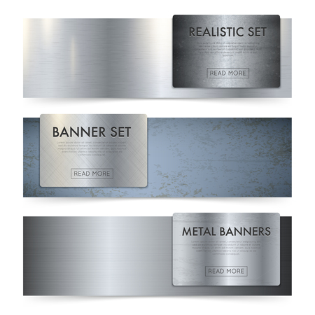 metal surface: Realistic metal texture sheets and coils horizontal banners set with plain mill finish polished surface vector illustration