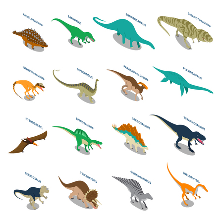 pterodactyl: Dinosaurs set of isometric icons with carnivores and herbivores including tyrannosaurus pterodactyl brontosaurus triceratops isolated vector illustration