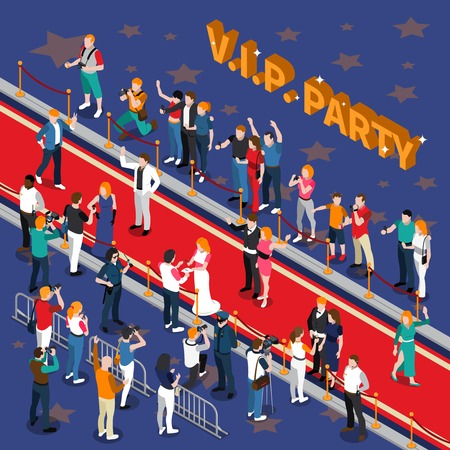 Vip party with celebrities on red carpet photographers admirers