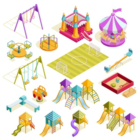 Playground isometric collection with carousels bench sandbox roller swing soccer field and slides