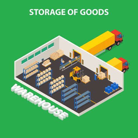 Storage of goods isometric design concept with workers unloading boxes from trucks using forklifts vector illustration