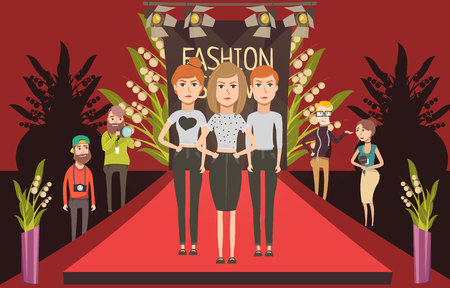 runway fashion: Catwalk fashion set flat composition with doodle female models and journalists photographer characters on red carpet vector illustration