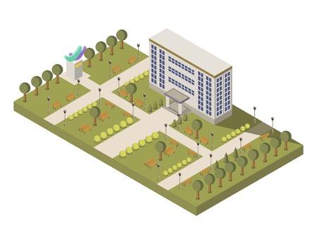 大学の建物と庭園が等尺性の大学、キャンパス構成