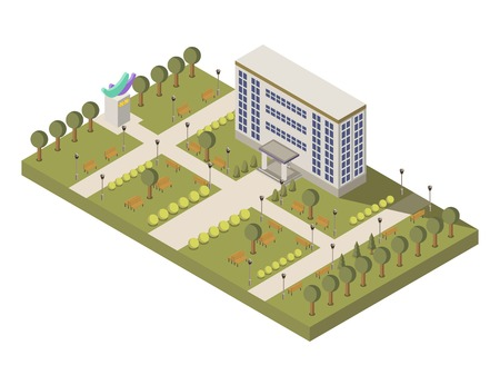 Isometric university and campus composition with university building and garden