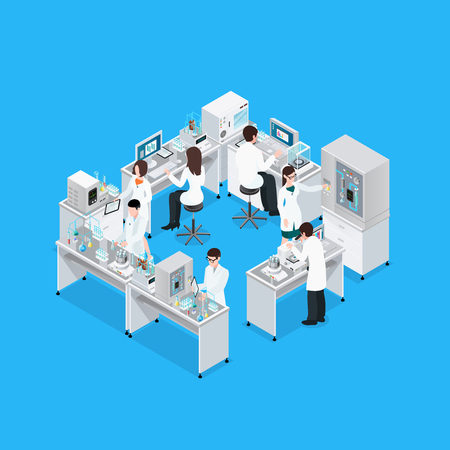 Laboratory isometric composition with workbench research equipment and group of working faceless scientist characters in uniform vector illustration Vectores