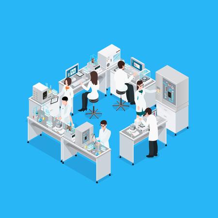 Laboratorium isometrische samenstelling met apparatuur van het werkbankonderzoek en groep werkende anonieme wetenschapperkarakters in eenvormige vectorillustratie