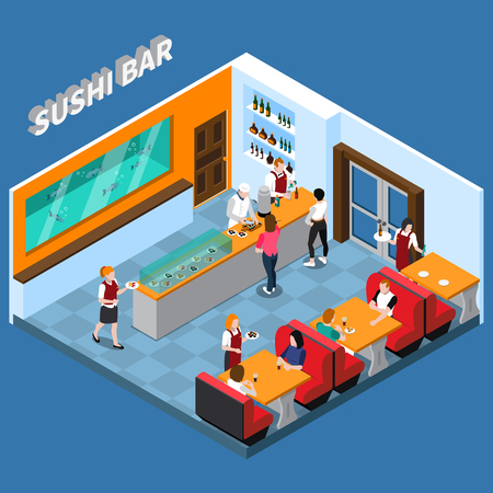 Sushi bar with staff and clients food and beverages interior elements Ilustrace