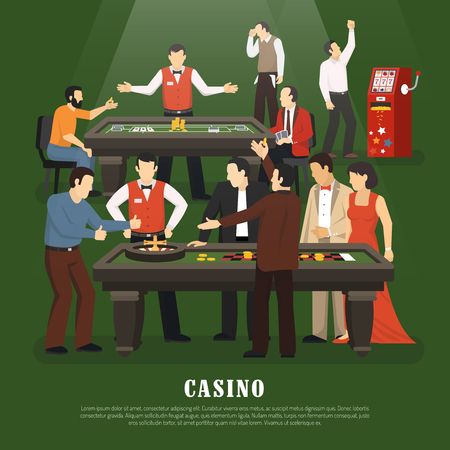 Casino concept with slot machine poker and roulette flat vector illustration