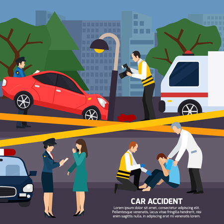 car: Car and street lamp accident with injured person ambulance road police  warning tape