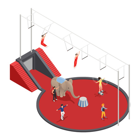 manege: Circus isometric composition with aerial acrobats elephant with trainer and clown performing at arena vector illustration
