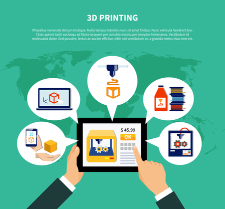 3d printing design concept illustrating human hands holding tablet with information about volumetric printer on screen