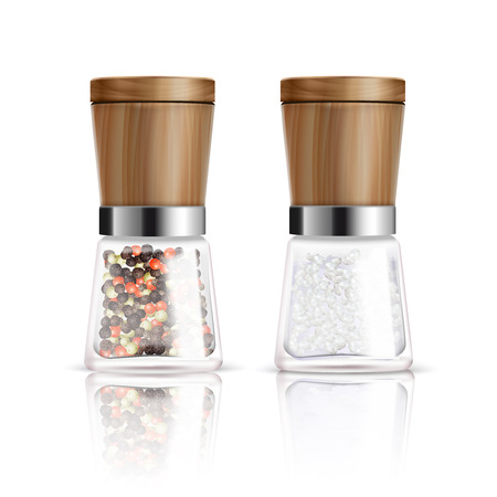 pepper mill: Two isolated realistic salt and pepper mill composition with glass container and wooden cover