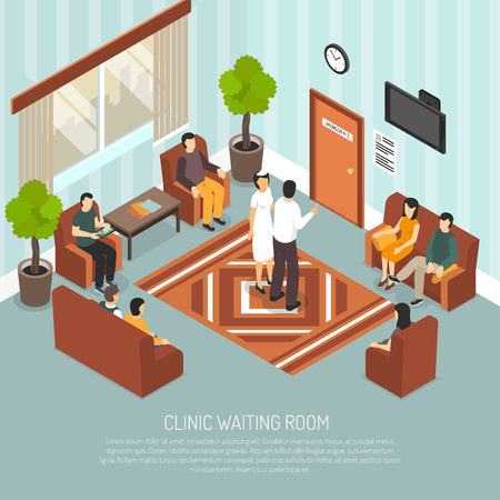louver: Clinic waiting room with medical worker and visitors sitting on brown armchairs and sofa Illustration