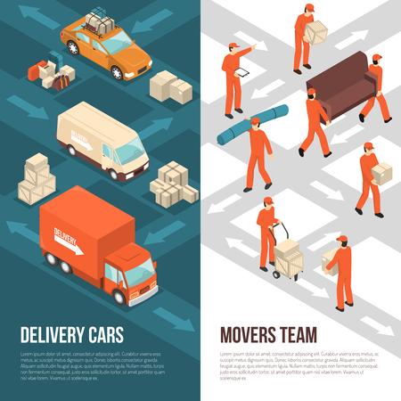 Colored and isometric delivery moving vertical banner set with delivery cars