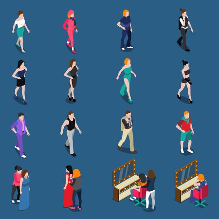 ファッションモデル等尺性がさまざまな服の人々 を歩いてを入り  イラスト・ベクター素材