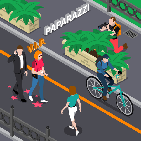 celebrities: Paparazzi doing photo of celebrities during walking from bushes at street in summer isometric vector illustration Illustration