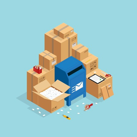Box packing and sending composition with isometric images of post mail box and carton parcel packaging vector illustration Illustration