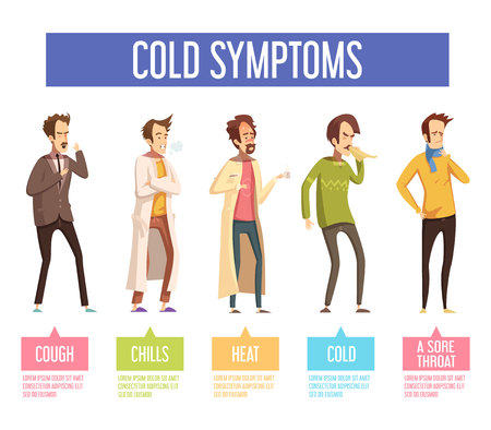 running nose: Flu cold or seasonal influenza symptoms flat infographic poster men feel feverish chills cough sore throat vector illustration
