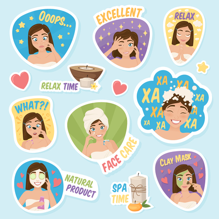 Set of woman morning routine stickies with cartoon girl characters with seamless decorative symbols and  captions vector illustration