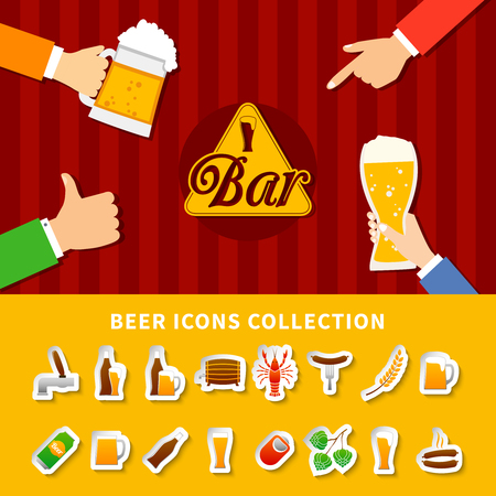 starter: Flat beer icons collection set on yellow and red striped background with hands holding cups