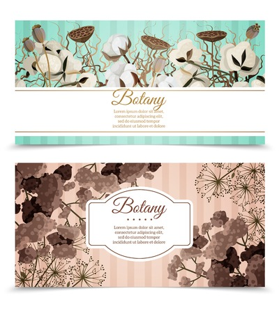 dry flowers: Two horizontal banners with printable cards decorated by cotton blossoms and dry flowers