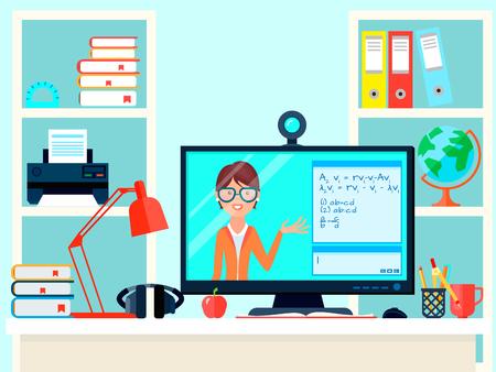E-learning afstand leraar opleiding samenstelling met externe onderwijs video-oproep thuis werkplek met computer scherm vectorillustratie